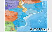 Political Shades Panoramic Map of Mozambique