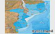 Political Shades Panoramic Map of Mozambique, satellite outside, bathymetry sea