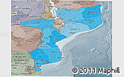 Political Shades Panoramic Map of Mozambique, semi-desaturated