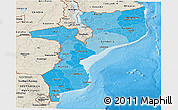 Political Shades Panoramic Map of Mozambique, shaded relief outside, bathymetry sea