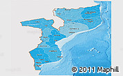 Political Shades Panoramic Map of Mozambique, single color outside
