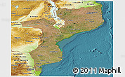 Satellite Panoramic Map of Mozambique, physical outside, satellite sea