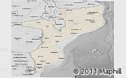 Shaded Relief Panoramic Map of Mozambique, desaturated