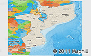 Shaded Relief Panoramic Map of Mozambique, political outside, shaded relief sea