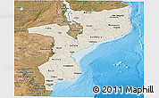 Shaded Relief Panoramic Map of Mozambique, satellite outside, shaded relief sea