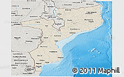 Shaded Relief Panoramic Map of Mozambique, semi-desaturated, land only