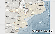 Shaded Relief Panoramic Map of Mozambique, semi-desaturated