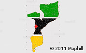 Flag Simple Map of Mozambique, flag centered
