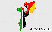 Flag Simple Map of Mozambique, flag aligned to the middle