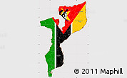 Flag Simple Map of Mozambique, flag rotated