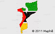 Flag Simple Map of Mozambique