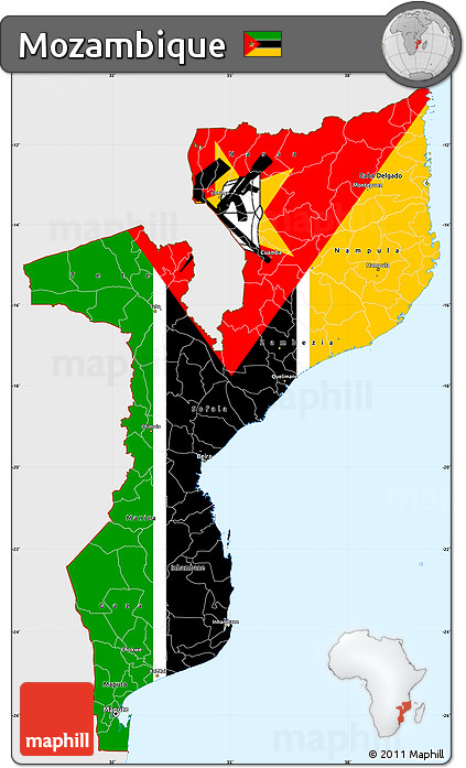 Free Flag Simple Map Of Mozambique Single Color Outside