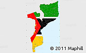 Flag Simple Map of Mozambique, single color outside