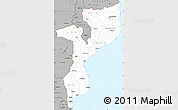 Gray Simple Map of Mozambique