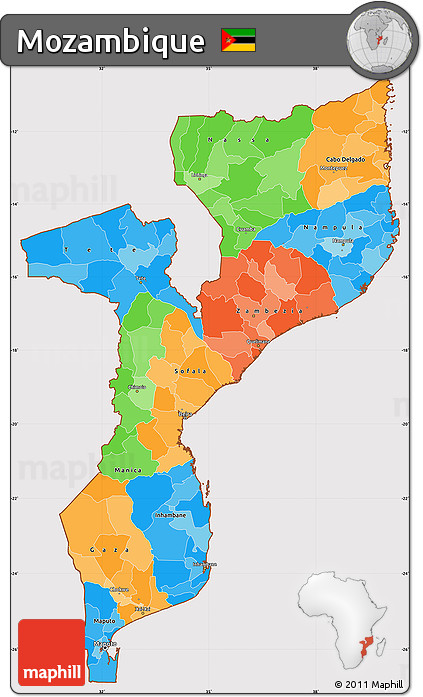 Free Political Simple Map of Mozambique cropped outside