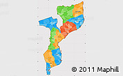 Political Simple Map of Mozambique, cropped outside