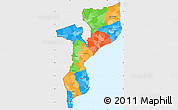 Political Simple Map of Mozambique, single color outside