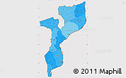 Political Shades Simple Map of Mozambique, cropped outside