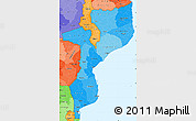 Political Shades Simple Map of Mozambique