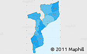 Political Shades Simple Map of Mozambique, single color outside