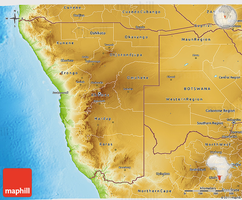 Physical 3D Map of Namibia