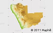 Physical Map of Kunene, cropped outside
