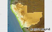 Physical Map of Kunene, darken