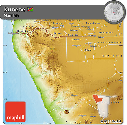 Physical Map of Kunene