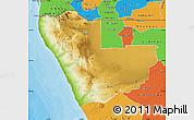 Physical Map of Kunene, political outside