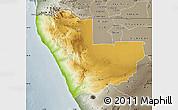 Physical Map of Kunene, semi-desaturated