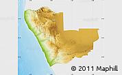 Physical Map of Kunene, single color outside