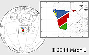 Flag Location Map of Namibia, blank outside