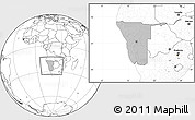 Gray Location Map of Namibia, blank outside, hill shading inside