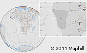 Gray Location Map of Namibia, lighten, desaturated, hill shading