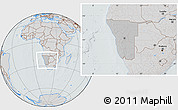Gray Location Map of Namibia, lighten, semi-desaturated, hill shading