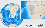 Gray Location Map of Namibia, shaded relief outside, hill shading
