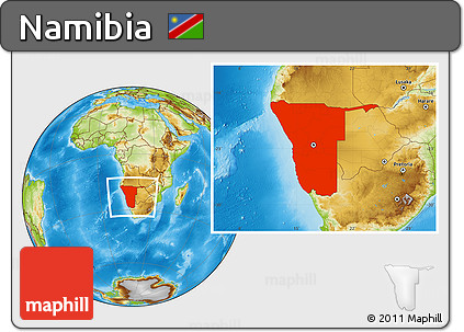 Physical Location Map of Namibia