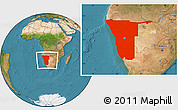 Satellite Location Map of Namibia
