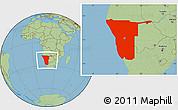 Savanna Style Location Map of Namibia
