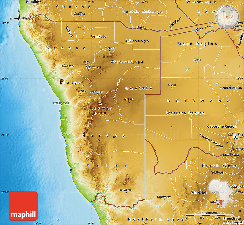 Physical Map Of Namibia - Namibia map