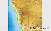 Physical Map of Namibia