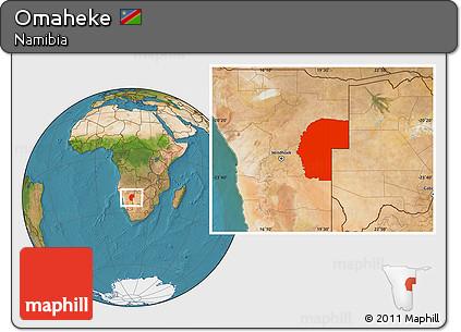 Satellite Location Map of Omaheke