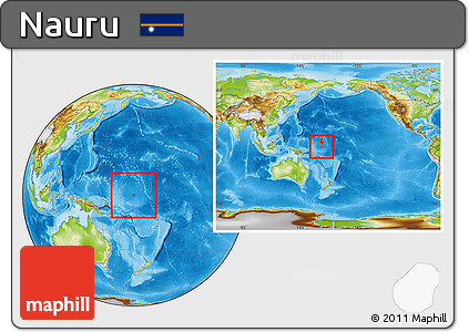 Free Physical Location Map of Nauru within the entire continent