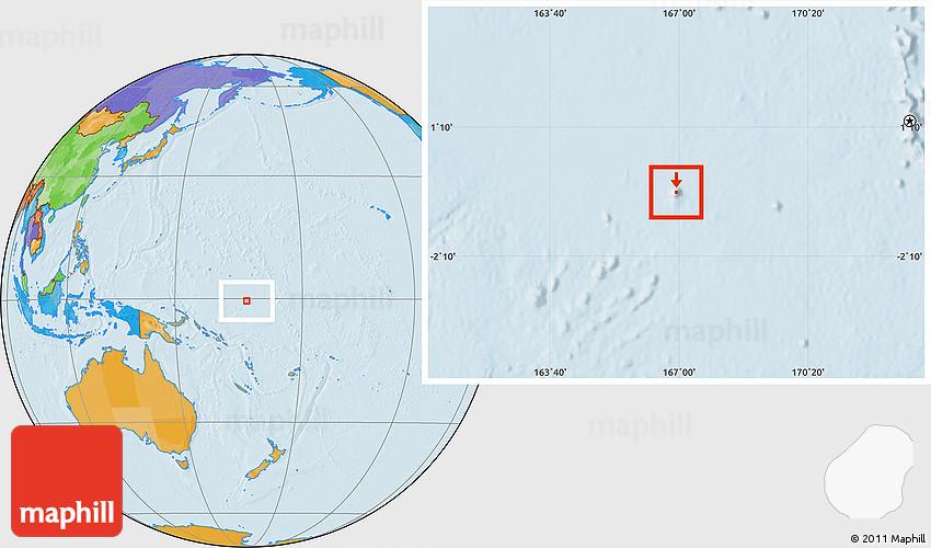 Political Location Map of Nauru