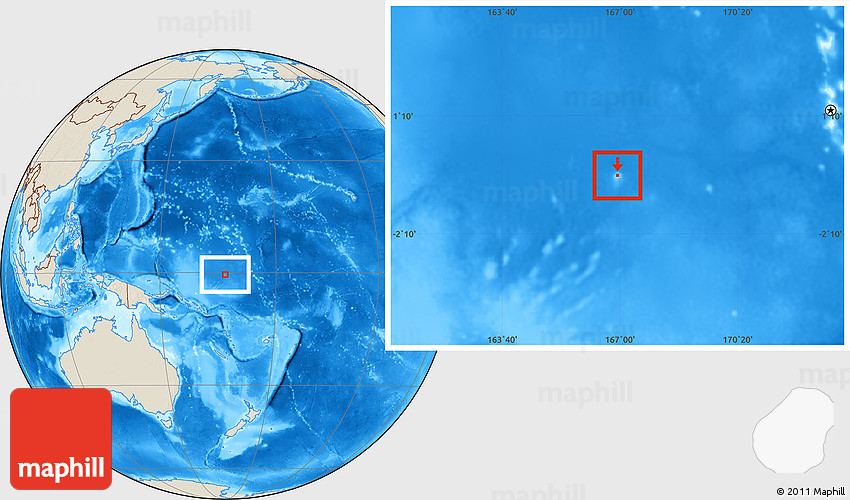 Shaded Relief Location Map of Nauru
