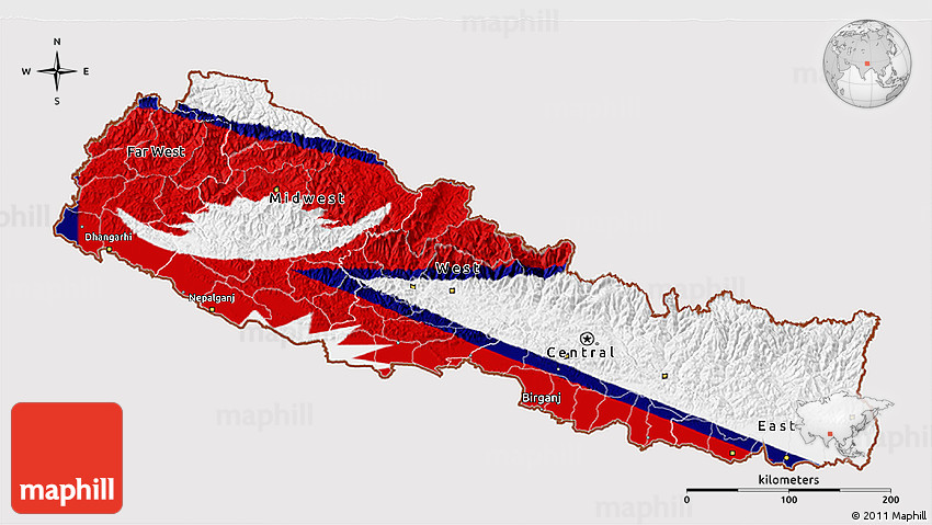 Flag 3D Map of Nepal