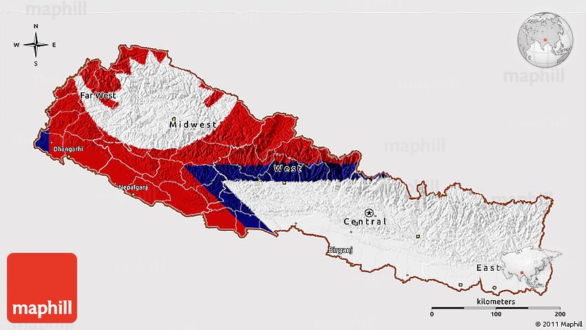 Flag 3D Map of Nepal, flag centered