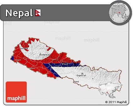 Free Flag 3D Map of Nepal, flag centered