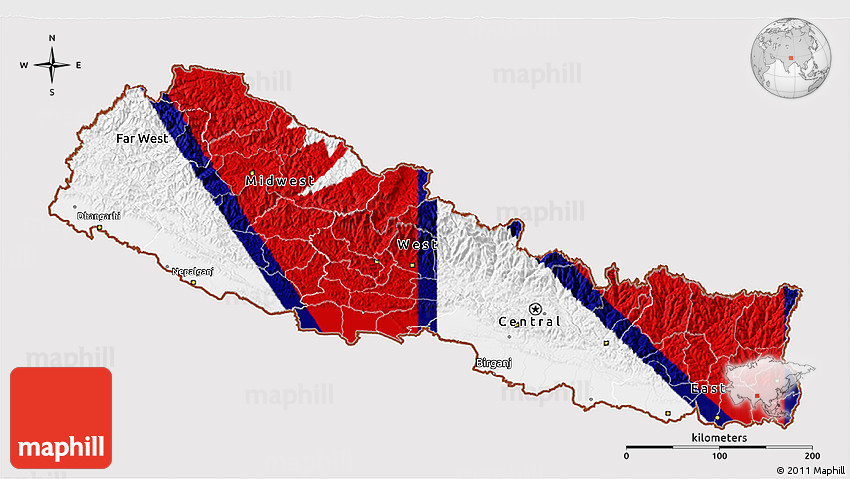 Flag 3D Map of Nepal, flag aligned to the middle