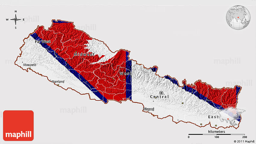 Flag 3D Map of Nepal, flag rotated